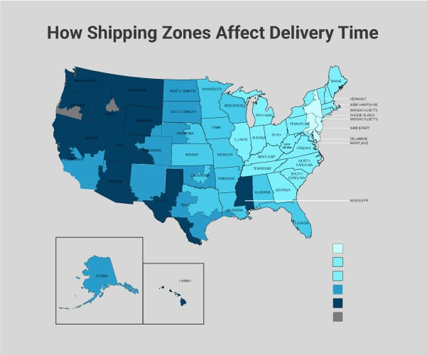 how shipping zones affect delivery time map