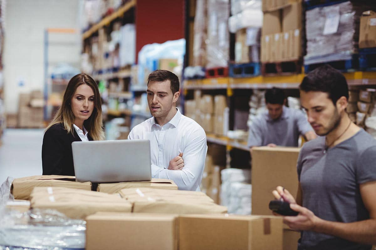 Business owners in a fulfillment center