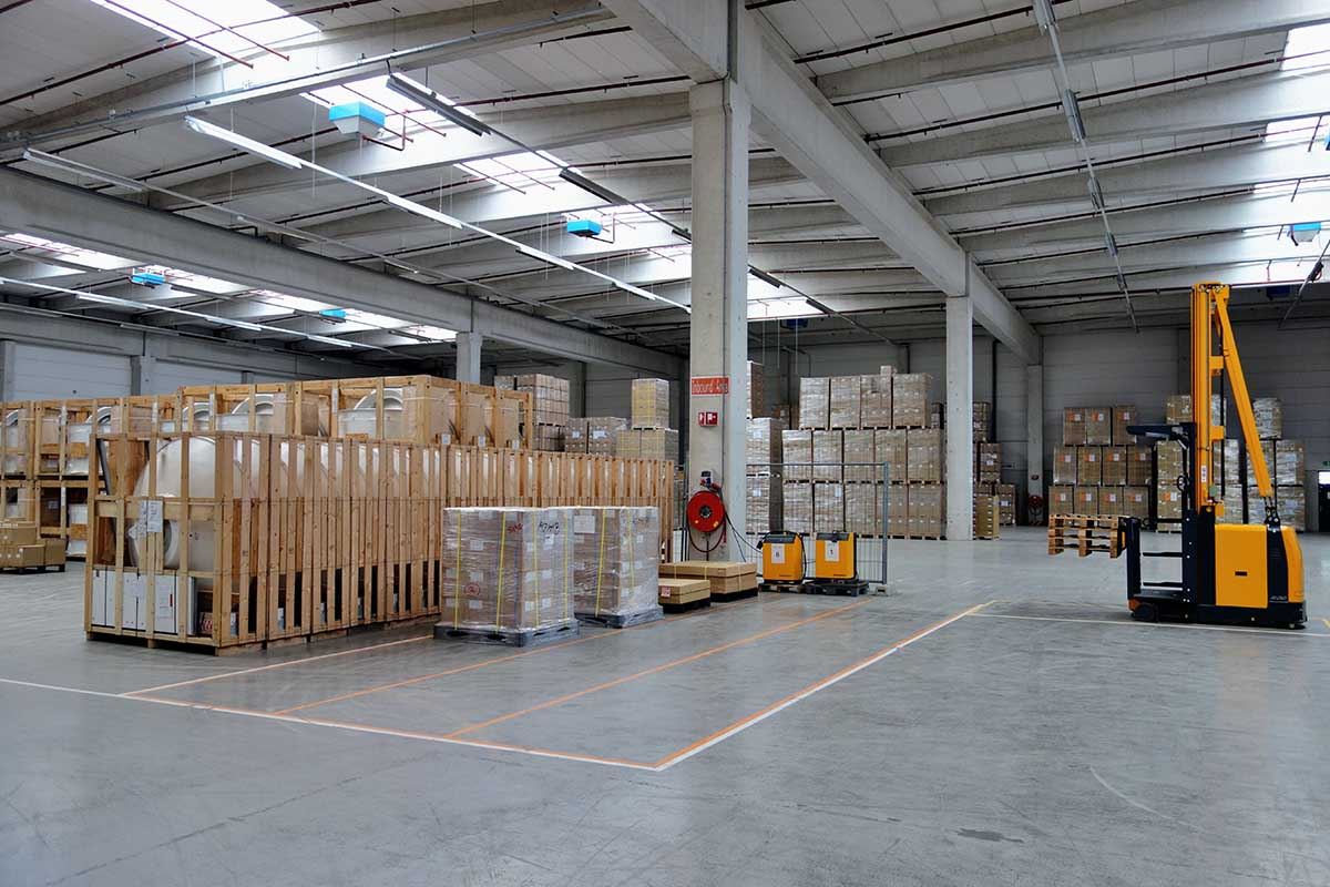 fulfillment center with packages and a forklift