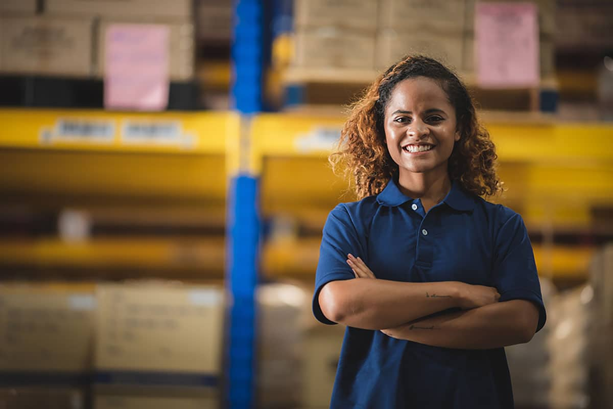 Portrait of African American worker in warehouse
